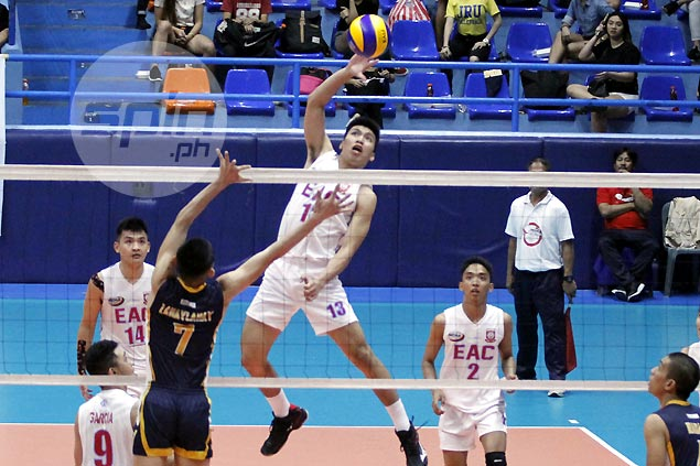 EAC survives scare against winless JRU to get back on win track in NCAA men's volleyball
