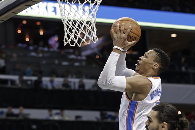 Double-doubles by Westbrook, Adams power Thunder past Hornets to halt three-game slide
