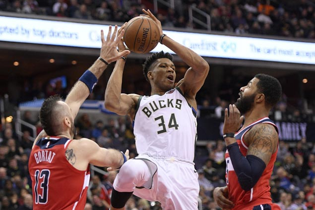 Giannis Antetokounmpo puts up 20-20 game as Bucks repeat over Wizards