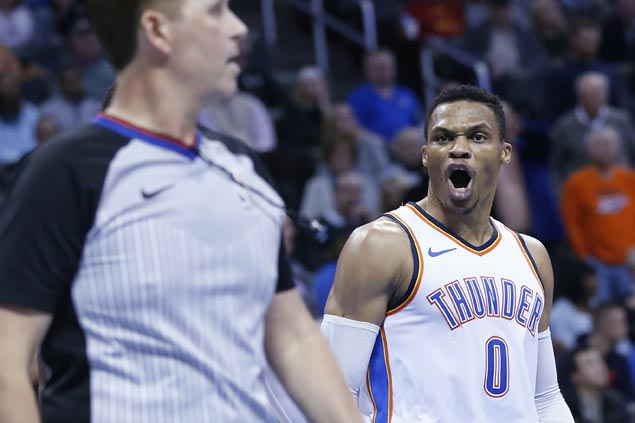 Russell Westbrook flirts with triple-double before being ejected but Thunder hold on to beat Kings