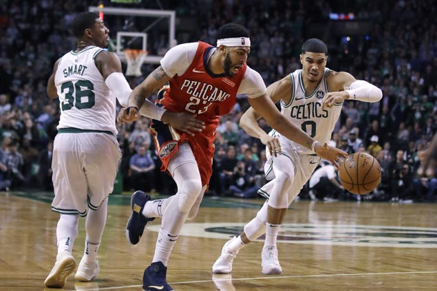 Anthony Davis sustains fine form with another dominant show in Pelicans OT win over Celtics