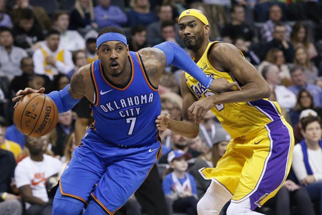 Carmelo Anthony leads surging Thunder romp as Kuzma, Caldwell-Pope add to Lakers injury woes