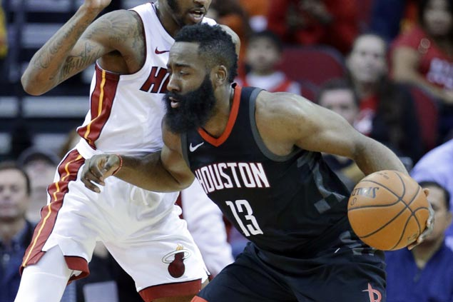 James Harden sparks late blitz as Rockets rally past Heat for third win in a row
