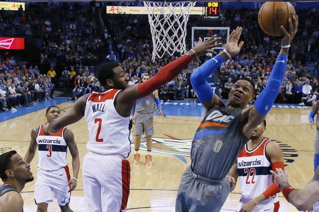 Westbrook torches Wizards with season-high 46 as Thunder extends win run to six