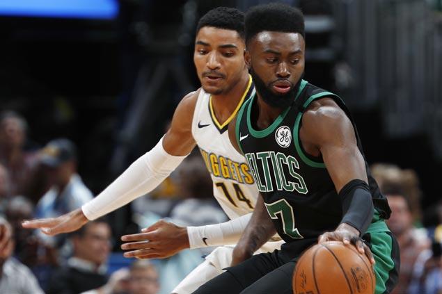 Jaylen Brown nails go-ahead triple as shaky Celtics nip Nuggets