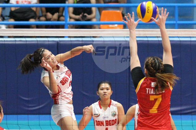 San Beda downs San Sebastian in four to gain share of lead with Arellano