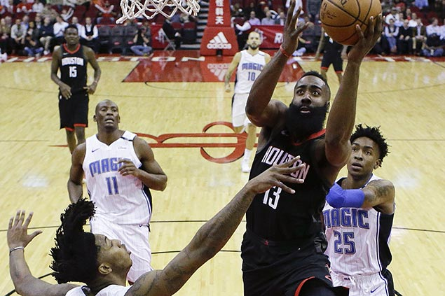 Harden's historic 60-point triple-double lifts depleted Rockets over Magic