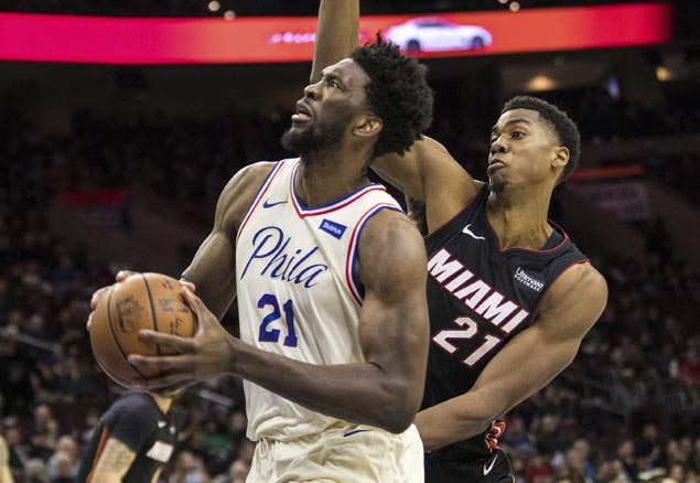 Double-doubles by Embiid, Saric power 76ers past Heat