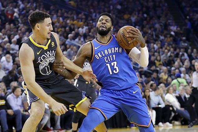 George, Westbrook lead assault as Thunder rips Warriors to halt four-game slide