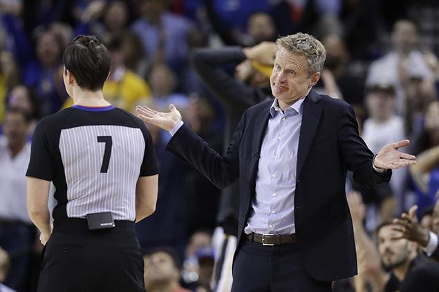 Kerr shrugs off bum calls in Warriors loss to OKC: 'We're out of whack right now'