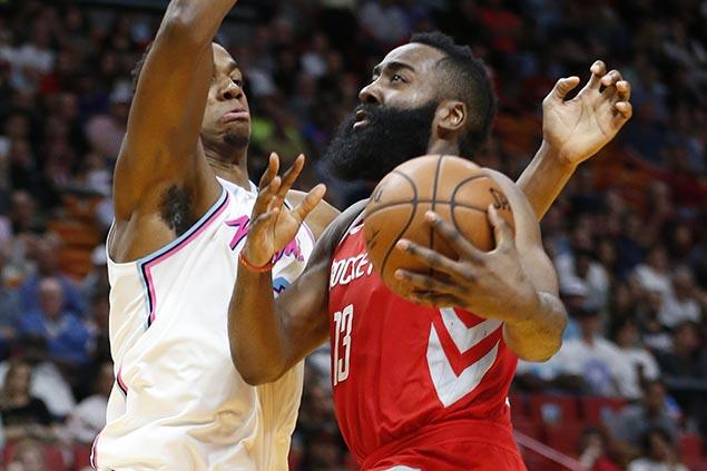 Harden drops 41 as Rockets stretch streak to six, send Heat to fifth straight loss