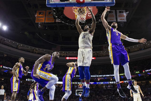 Joel Embiid posts double-double for seventh straight game as Sixers rout Pelicans