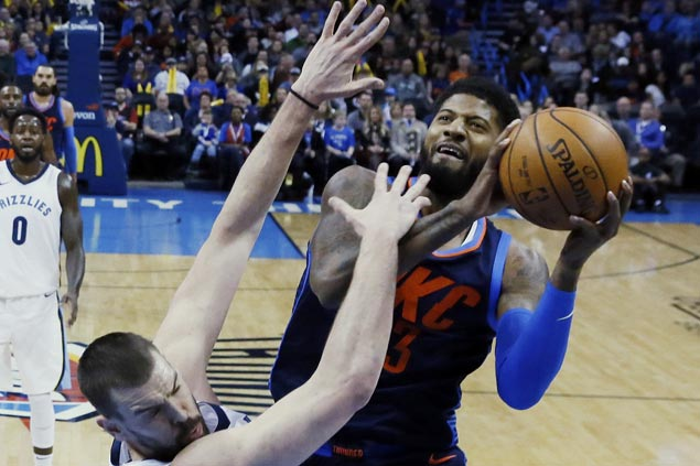 Paul George takes charge as Thunder sans Melo, Westbrook defeat Grizzlies