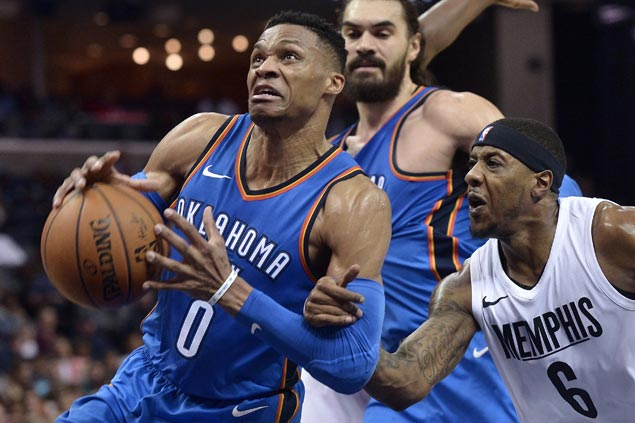 Westbrook posts 17th triple-double of season, Thunder hit 17 triples in win over Grizzlies
