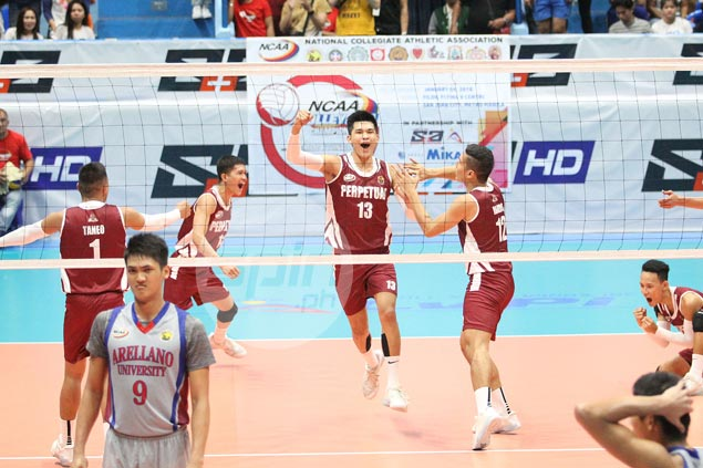 Perpetual completes finals comeback against Arellano to bag 11th NCAA volleyball title