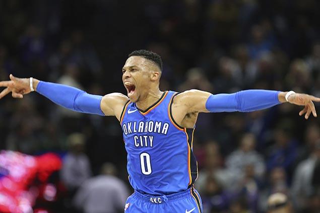 Westbrook hits buzzer-beating triple to avert Thunder collapse vs Kings