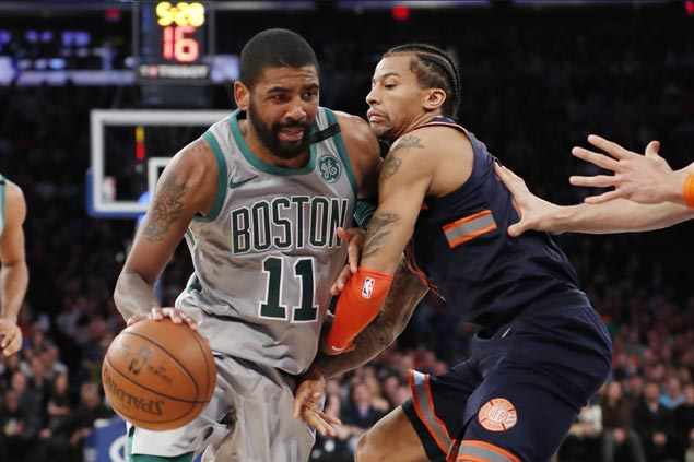 Kyrie Irving catches fire in third to power Celtics past Knicks for second straight win
