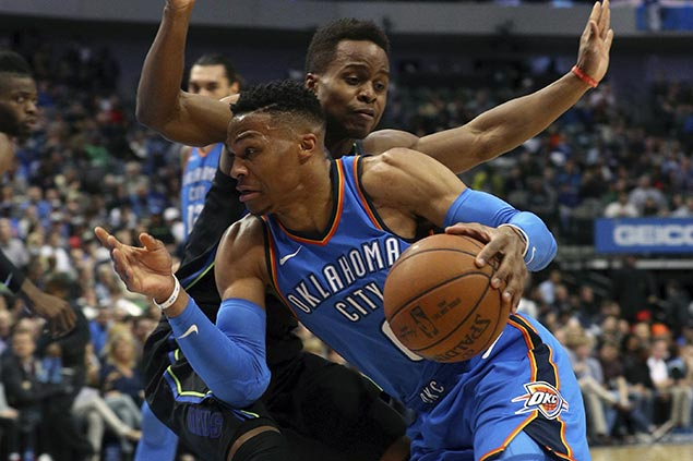 Westbrook takes charge in overtime to lift Thunder over lowly Mavs
