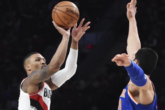 Lillard makes eight triples as Blazers make it eight straight wins with rout of Knicks