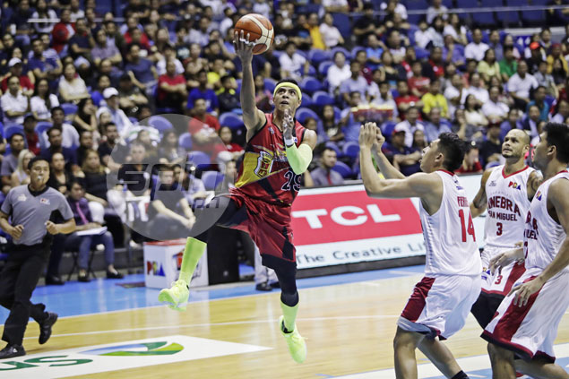Santos, Pessumal set tone as San Miguel blasts weary Ginebra in Game One