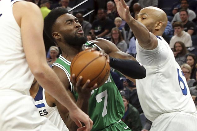 Sigh of relief for Celtics as Jaylen Brown says he's 'ok' after scary fall in win vs Wolves