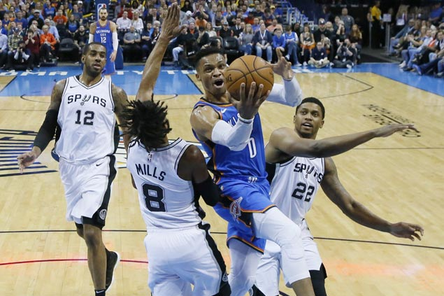 Russell Westbrook posts 19th triple-double of season as Thunder down Spurs