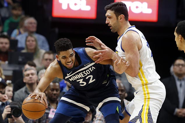 Towns leads Timberwolves comeback as Curry-less Warriors suffer second straight loss