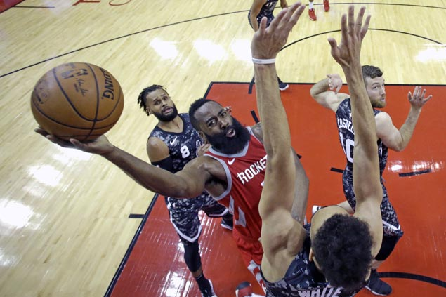 James Harden back after resting sore knee and Rockets breeze past Spurs