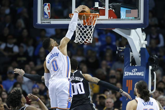 Russell Westbrook makes it 20 triple-doubles this season as Thunder edge Kings