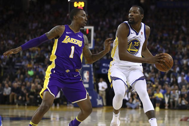 KD takes charge as Warriors sans Splash Brothers get by Lakers