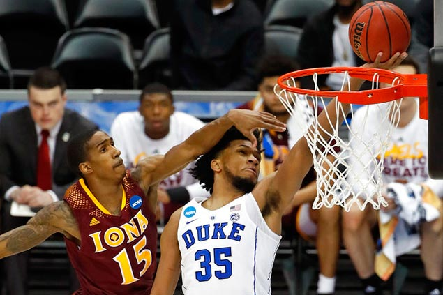 Marvin Bagley impresses in NCAA tournament debut as Duke Blue Devils bundle out Iona