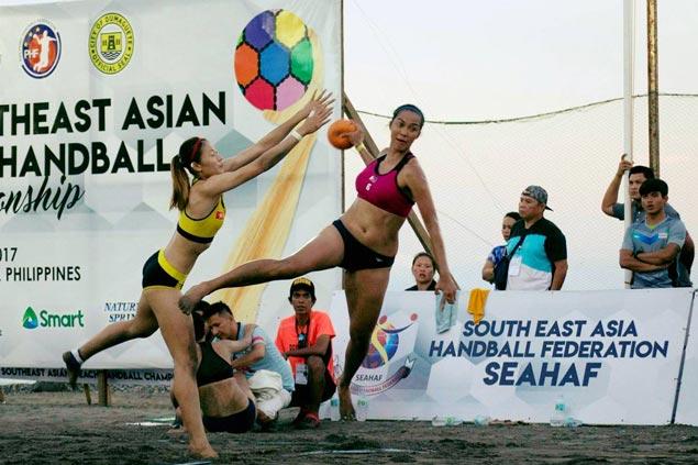 Local beach handball teams take centerstage in first Philippine Beach Games
