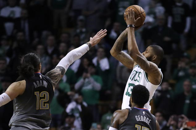 Marcus Morris hits last-gasp triple to lift Celtics over Thunder