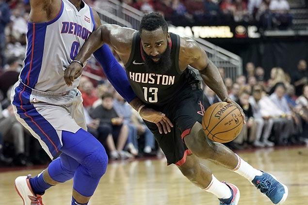 Harden takes over in OT as Rockets survive scare vs Pistons to extend streak to seven