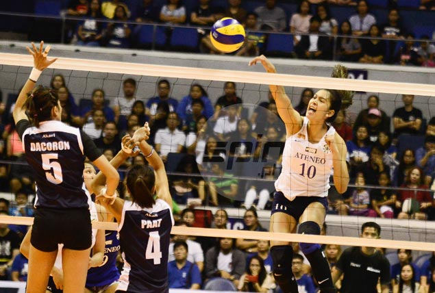 Lady Eagles secure at least a playoff for spot in UAAP women's volley semis with squeaker over Lady Falcons