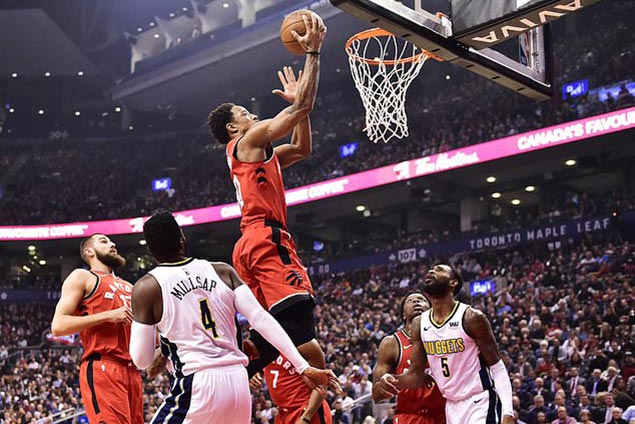 DeRozan leads seven players in double figures as Raptors hold off struggling Nuggets