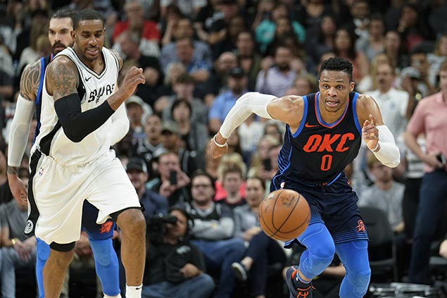 Westbrook shrugs off crucial airballs late in OKC Thunder loss to Spurs