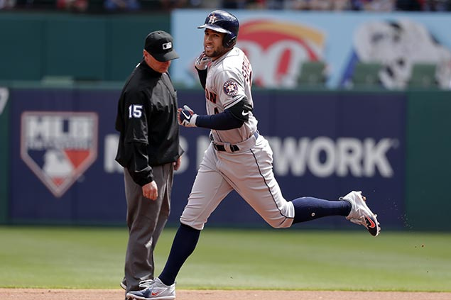 George Springer shines as World Series champ Astros start season with big win vs Rangers
