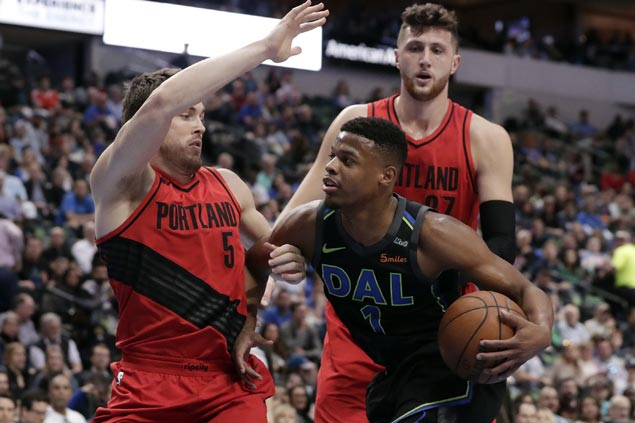 Lottery-bound Mavs keep Blazers from securing homecourt advantage in playoffs