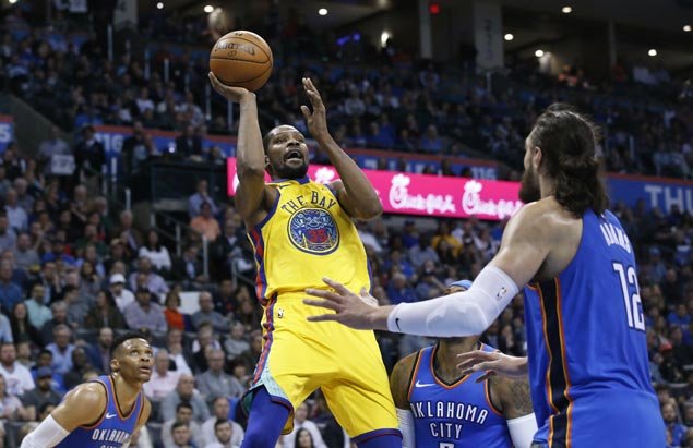 KD shrugs off the jeers as Curry-less Warriors score narrow win at Thunder