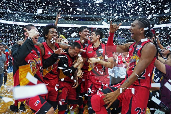 ROAR FOR FOUR. Lasting images from the San Miguel Beermen's Philippine Cup title clincher