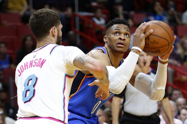 Thunder secure playoff berth as Westbrook posts 25th triple-double of season in rout of Heat