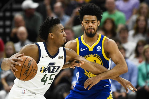 Donovan Mitchell sets rookie season record for 3-pointers as Jazz rip Warriors to boost bid for No. 3 spot