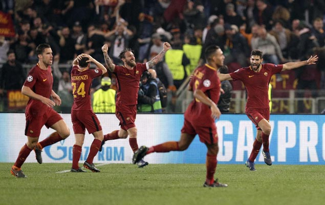Kostas Manolas scores rare goal as Roma completes epic comeback to knock out Barca
