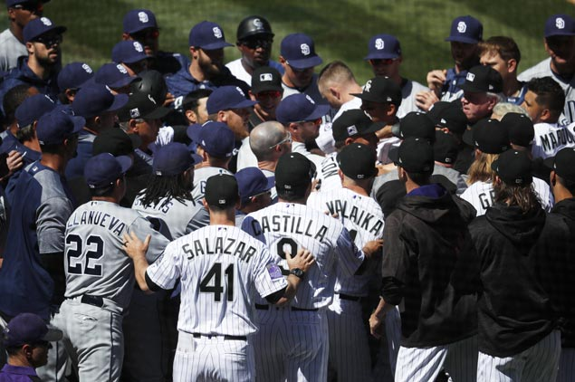 Five ejected from Rockies-Padres game as brawl erupts after Luis Perdomo pitch sails behind Nolan Arenado