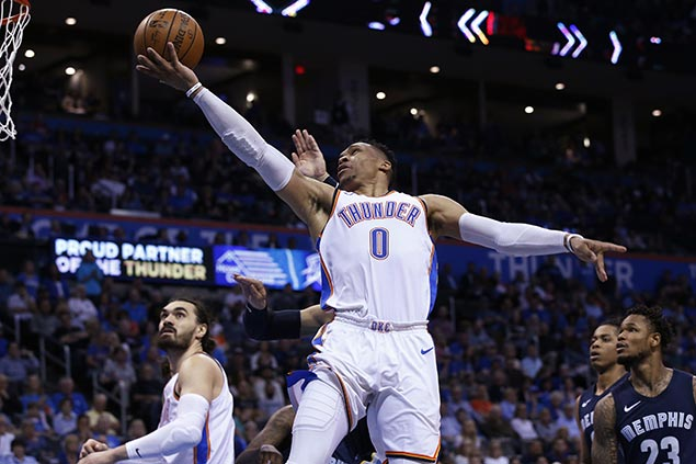 Westbrook nabs triple-double average in two straight seasons as Thunder rips Grizzlies