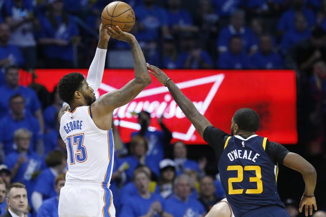 PG13 sets OKC playoff record for triples as Thunder down Jazz in Game One