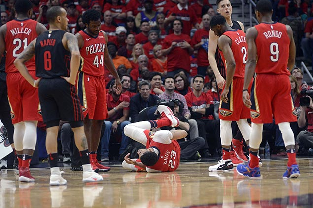 Davis shrugs off hard fall in romp over Blazers as Pelicans move on verge of first-round sweep