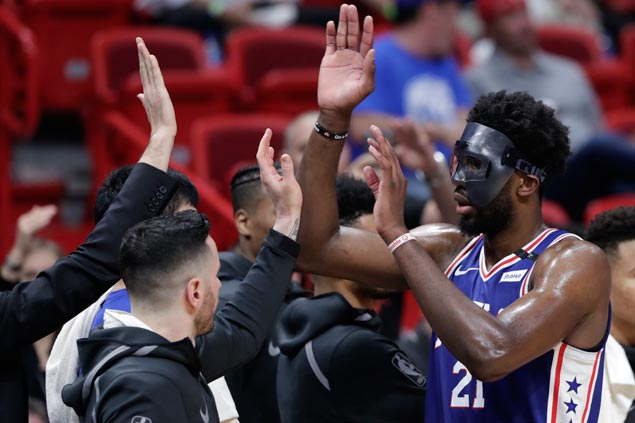Masked man Joel Embiid bedevils Heat upon return to Sixers lineup