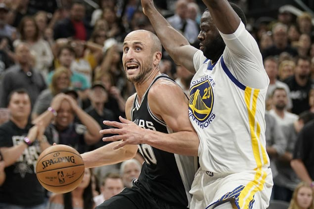 Manu catches fire in fourth as Pop-less Spurs down Warriors to avoid sweep
